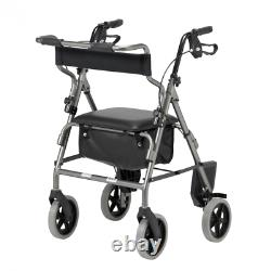 2 in 1 Rollator Lightweight Folding Wheelchair Walking Aid Silver or Red
