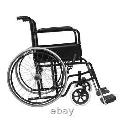 20 in PU Leather Folding Wheelchair Self Propelled Travel Heavy Duty Lightweight