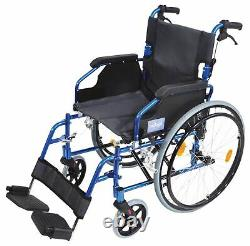 Aidapt Deluxe Lightweight Folding Self Propelled Aluminium Wheelchair Blue