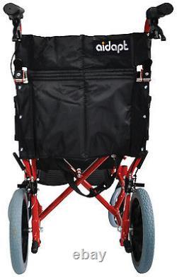 Aidapt Lightweight Folding Compact Aluminium Wheelchair with Attendant Brakes