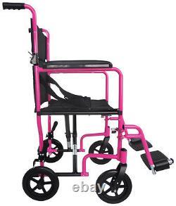 Aidapt Transport Compact Aluminium Wheelchair with Folding Lightweight Pink