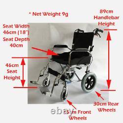 Aluminium Travel Wheelchair Lightweight & Fully Folding Attendant Chair