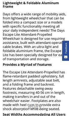 Days Escape Lite Attendant Propelled Wheelchair Lightweight / Foldable / Narrow