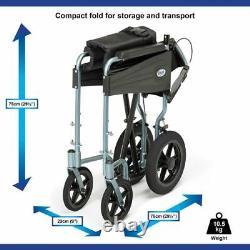 Days Escape Lite Lightweight Folding Aluminium Transit Wheelchair With Brakes