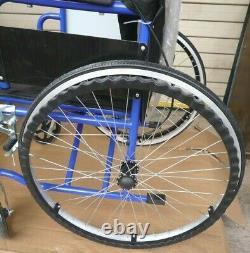 Dual Brake Lightweight Folding Wheelchair Self Propelled Mobility Chair Blue New