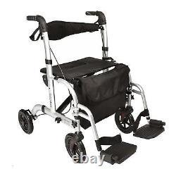 EC Hybrid 2 in 1 rollator / lightweight folding walker wheelchair walking aid