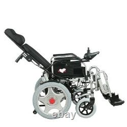 Electric powered wheelchair with adjustable headrest. Foldable and lightweight