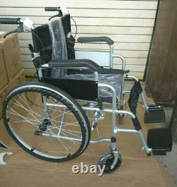 Folding Wheelchair Self Propelled Lightweight Dual Brakes Armrest Footrest Grey