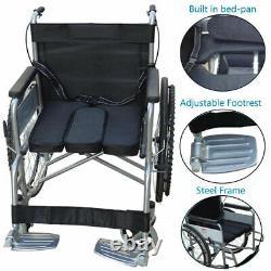 Folding Wheelchair Self Propelled Lightweight Transit Armrest Footrest Brake