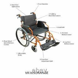 High Quality Foldable Lightweight Self Propelled Aluminium Wheelchair Orange