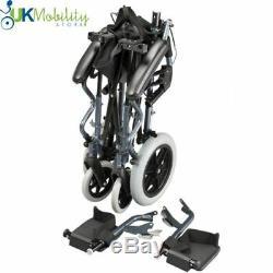 Karma Folding Lightweight Bluebird Travel Mobility Wheelchair + Free Carry Bag