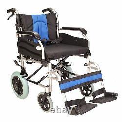 Lightweight Extra wide 20 transit aluminium wheelchair with brakes ECTR02-20