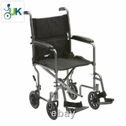 Lightweight Steel Folding Portable Travel Wheelchair With Lap Belt Padded Arms