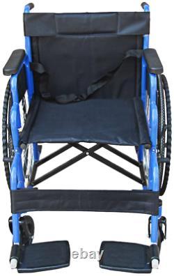 Lightweight Wide Soft Seat Bariatric Folding Wheelchair Self Propelled Leg-Rest