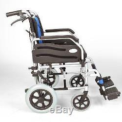 Lightweight deluxe folding transit aluminium travel wheelchair ECTR02-18
