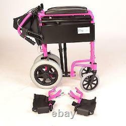 Lightweight folding Transit aluminium pink wheelchair + attendant handbrakes