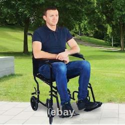 NEW Blue Lightweight Portable Folding Transport Transit Chair Wheelchair Aidapt