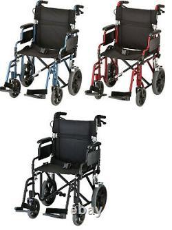 Nova 19 Lightweight Transport Chair Wheelchair 12 Rear Wheels Desk Arms NEW