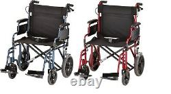 Nova 22 Lightweight Transport Chair Wheelchair w 12 Rear Wheels & Hand Brake