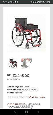 Quickie ARGON2 Fixed wheelchair folding back- Turqoise -24 lightweight wheels