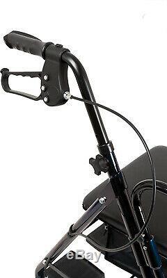 Rollator Walker 2 in 1 Lightweight Folding Transport Wheelchair Seat Footrest
