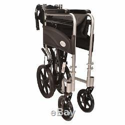 Ultra Lightweight aluminium folding transit wheelchair ECTR07 with handbrakes