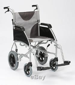 Ultra Lightweight aluminium folding transit wheelchair with extra wide 20 seat
