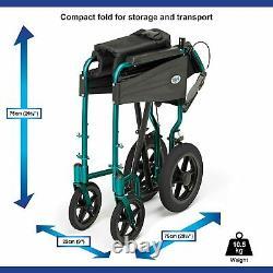 Wheelchair Foldable Lightweight Durable Aluminium Transit Travel Standard Size